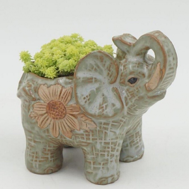 Amazing Ceramic Elephant Planter Picture