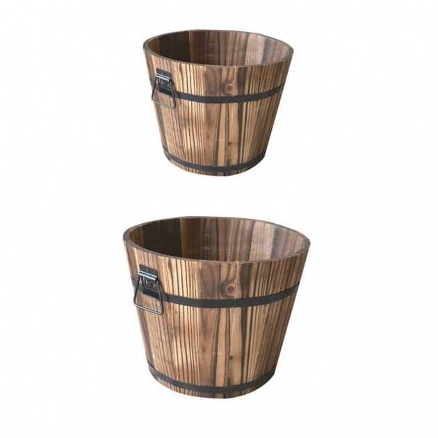 Best Cool Wooden Bucket Planter Image