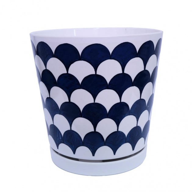 Creative Blue And White Plant Pot Photo