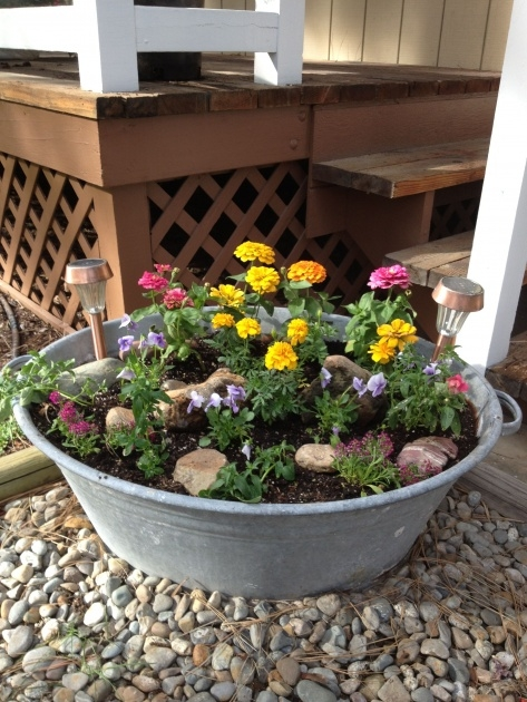 Creative Galvanized Tub Planter Image