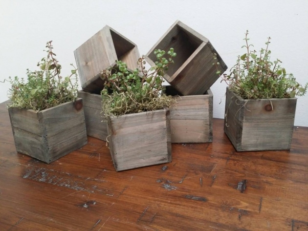 Easy Rustic Wooden Planters Picture