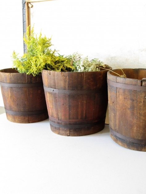 Fantastic Wooden Bucket Planter Picture