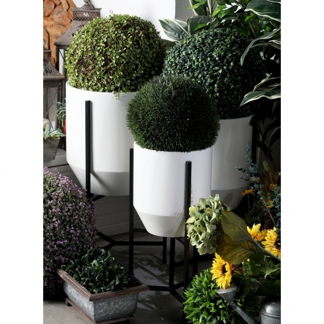 Fascinating White Garden Planters Image