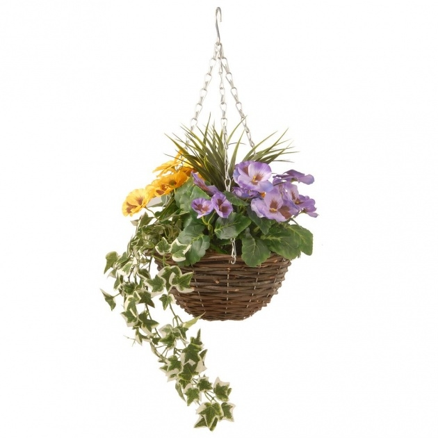 Great Artificial Pansy Hanging Basket Image