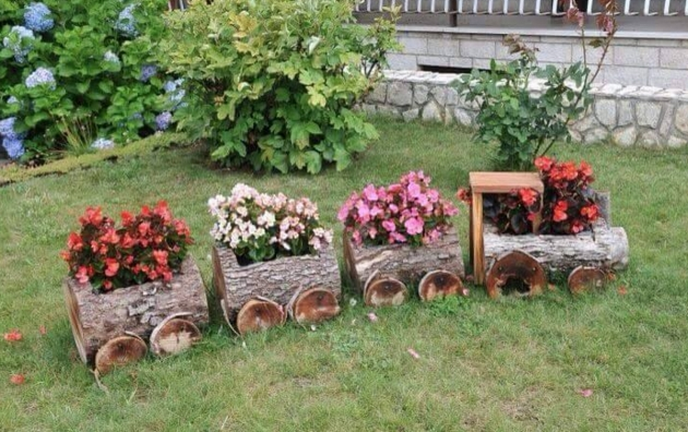 Great Wood Log Planter Photo