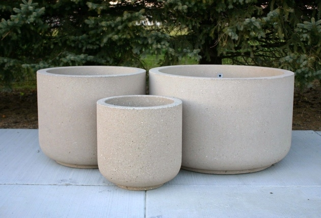 Ideas for Large Round Concrete Planters Photo