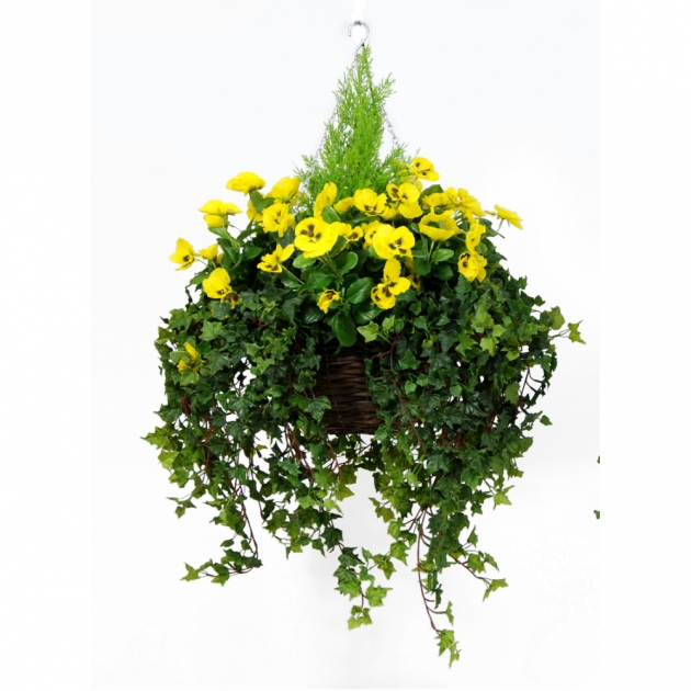 Insanely Artificial Pansy Hanging Basket Image