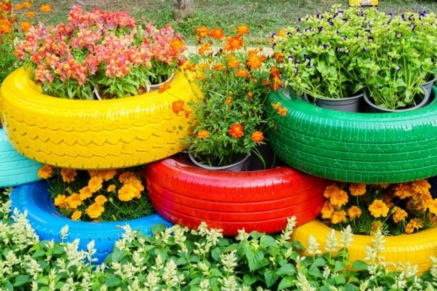 Inspirational Tire Planters Image