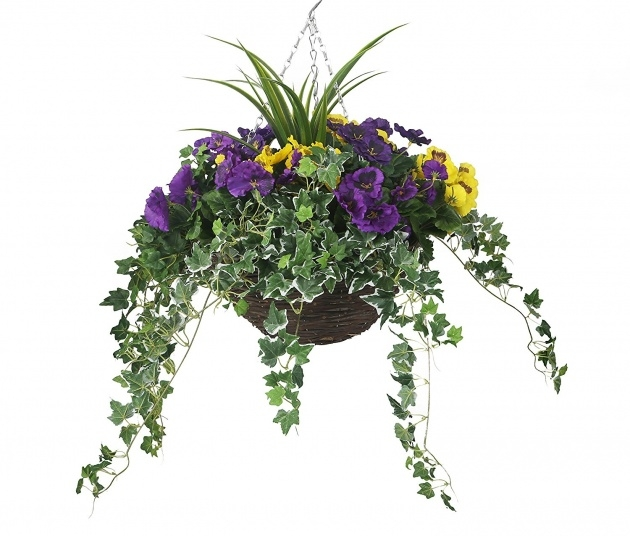 Interesting Artificial Pansy Hanging Basket Image
