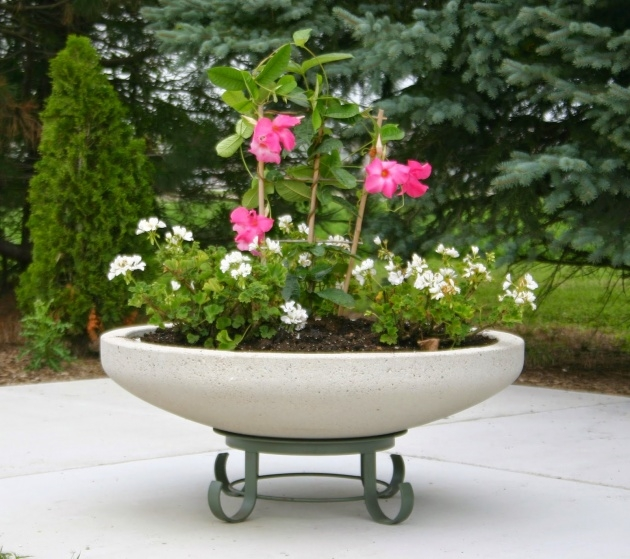Interesting Large Round Concrete Planters Image