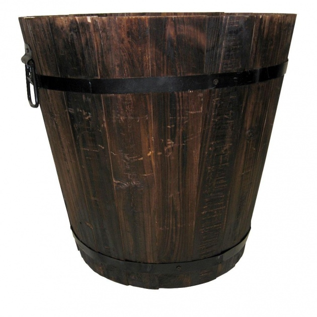 Interesting Wooden Bucket Planter Photo
