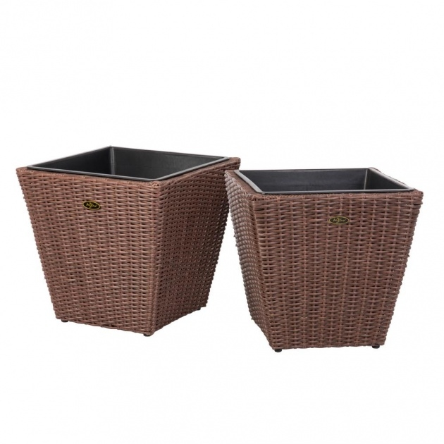 Marvelous Resin Wicker Planters Picture