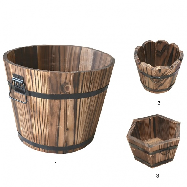 Marvelous Wooden Bucket Planter Image