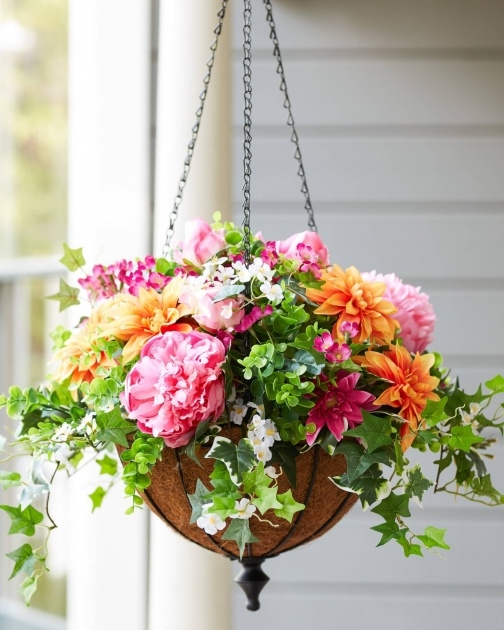 Stylish Artificial Hanging Plants For Outside Image