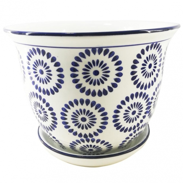 Stylish Blue And White Plant Pot Image