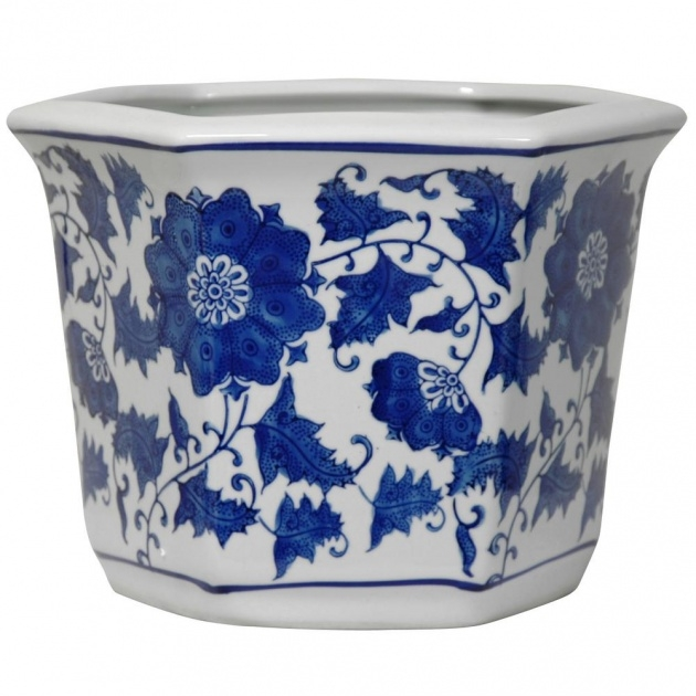 Stylish Blue And White Plant Pot Photo