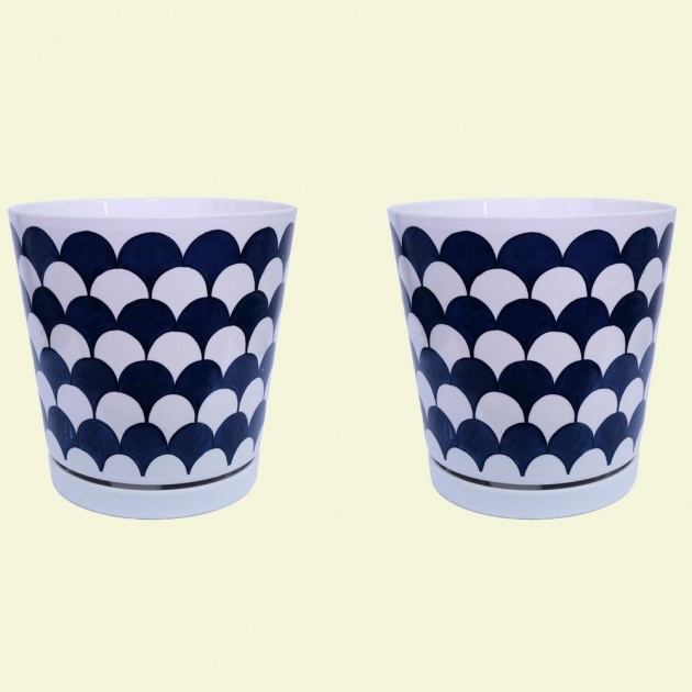 Stylish Blue And White Plant Pot Picture