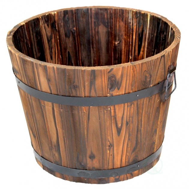 Stylish Wooden Bucket Planter Picture