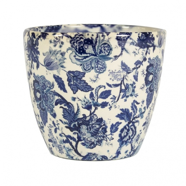 Surprising Blue And White Plant Pot Photo