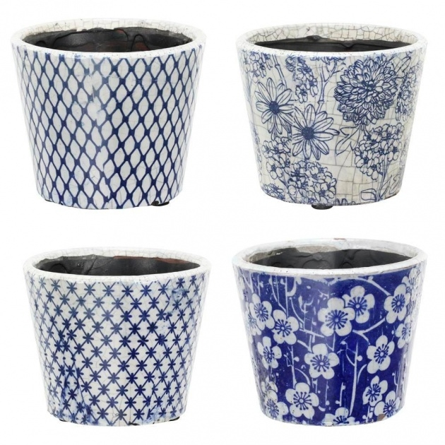 Best Blue And White Planter Image
