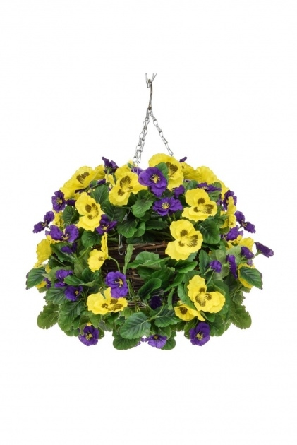 Easy Artificial Pansy Hanging Basket Photo