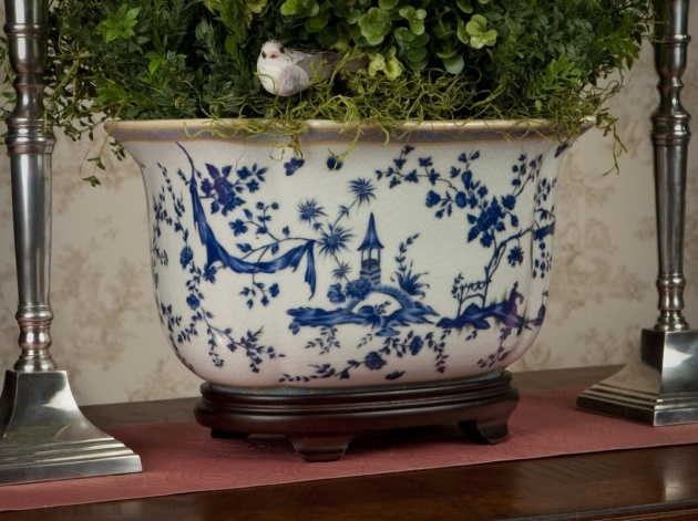 Great Ideas Blue And White Planter Photo