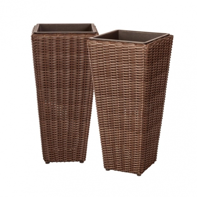 Great Resin Wicker Planter Boxes Photo