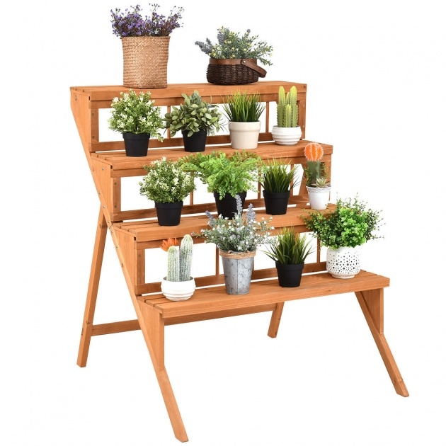 Great Wooden Plant Stand Picture