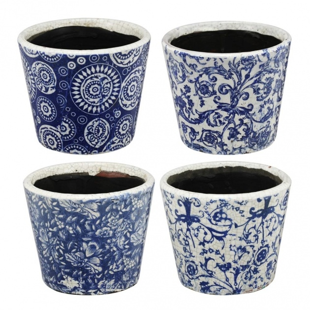 Inspirational Blue And White Plant Pot Picture