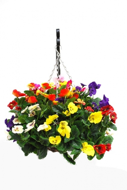 Most Creative Artificial Pansy Hanging Basket Image