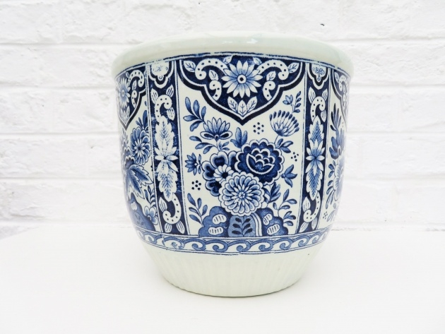 Perfect Large Blue And White Planter Picture