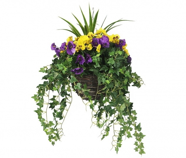 Top Artificial Pansy Hanging Basket Photo