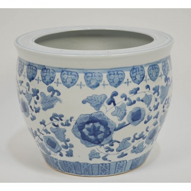 Top Large Blue And White Planter Image